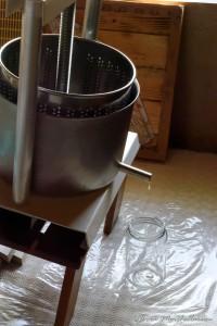 Début de pressage des cires contenant le miel résiduel.