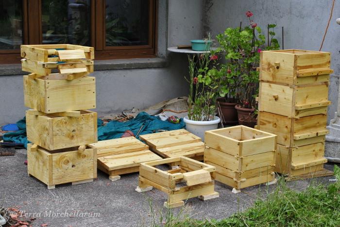 Ensemble des éléments de ruche construits au format Warré.