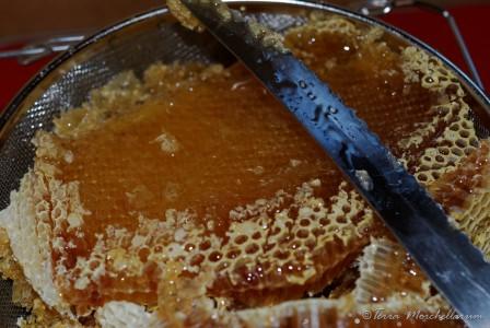 Le miel vierge est obtenu par égouttement en coupant les opercules de cire.